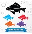 Fish icon Food symbol Cyprinidae family vector image vector image