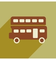 flat icon with long shadow double decker bus vector image vector image