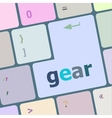 gear button on computer pc keyboard key vector image vector image