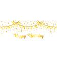 golden streamer and confetti vector image