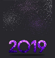 grey new year background with purple spectrum 2019 vector image