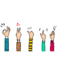 hand drawn colorful applause thumbs up gesture vector image