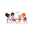 happy girl scouts and female troop leader learning vector image vector image
