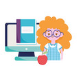 happy teachers day student girl online education vector image vector image