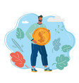 happy young man in with money vector image vector image