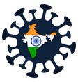india map coronavirus prevention flag vector image vector image