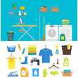 interior laundry room with furniture and part set vector image vector image