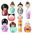 japanese kokeshi dolls beautiful girl woman vector image vector image