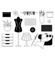 monochrome collection of sewing accessories vector image vector image