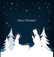 nativity scene mary jesus and joseph silhouettes vector image vector image