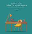 office workplace interior cartoon design vector image vector image