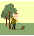 Old man with dog in park vector image vector image