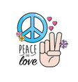peace and love symbol and global spirit vector image vector image