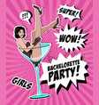 pin up girl in martini glass vector image vector image