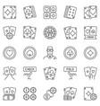 poker outline icons set - texas holdem vector image