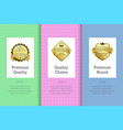 premium quality choice brand set poster with label vector image vector image