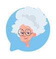 profile icon senior female head in chat bubble vector image