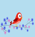 Red bird and flowers vector image vector image