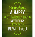 Saint Patricks Typography poster vector image vector image