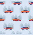 Seamless car cartoon pattern on silhouette of city