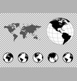 set of globes with different continents and a map vector image vector image