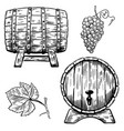 Set of wooden wine barrels grape grape leaf