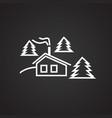 ski snow camp thin line on black background vector image