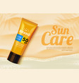 sunblock ads template sun protection cosmetic vector image vector image