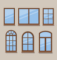 wooden windows types icons set vector image vector image