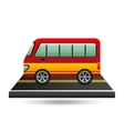 bus transport red and yellow design vector image