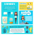 housewife doing household chores banner template vector image