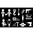 set white construction industry objects vector image