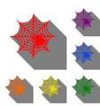 spider on web set of red orange vector image
