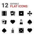12 casino icons vector image vector image