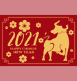 2021 chinese new year ox on red background vector image