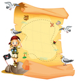 A treasure map and a young girl holding a vector image vector image