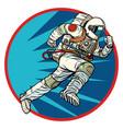 astronaut runs forward round logo symbol icon vector image vector image
