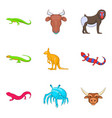 australian animal icons set cartoon style vector image vector image