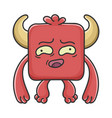 awkward red square devil cartoon monster vector image vector image