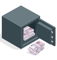 Bank safe with money euro stacks Safe open with vector image vector image