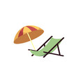 beach lounge and umbrella isolated on white vector image vector image