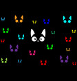 black cats colorful in dark background vector image