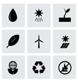 black eco icon set vector image vector image