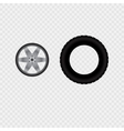 Car wheel and tire track vector image