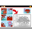 cartoon sea life jigsaw puzzle game vector image vector image