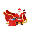 cartoon sleigh with santa claus gift bag vector image
