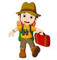 cartoon traveler with a large backpack vector image vector image