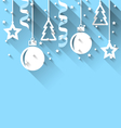 Christmas background with fir balls stars streamer vector image