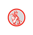 Coal Miner Hardhat Holding Pick Axe Circle Woodcut vector image vector image