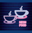 coffee shop neon light label vector image vector image